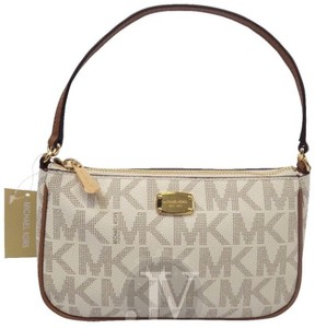 Michael Kors New Womens Jet Set Logo Convs Pouchette Bag Purse Vanilla - VANILLA - STYLE