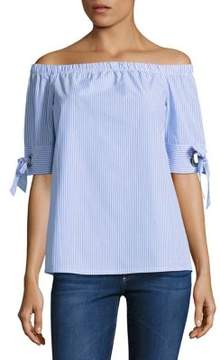 Noisy May Tie-Accented Off-the-Shoulder Top