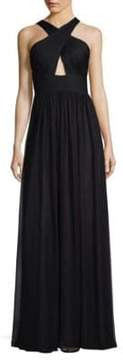 Aidan Mattox Silk Halter Maxi Dress