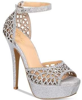 Thalia Sodi Womens Felisa Fabric Peep Toe Special Occasion Ankle Strap Sandals.