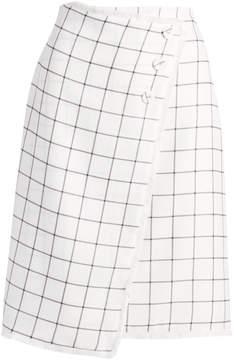 Lucy Paris Cream Windowpane Giana Wrap Skirt - Women