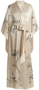 Carine Gilson Orchid-print silk-satin robe