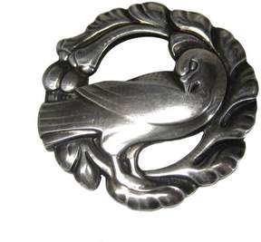 Georg Jensen Sterling Silver Denmark Dove Bird Brooch