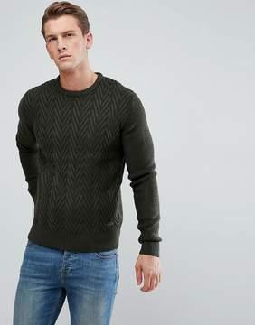 Brave Soul Cheveron Stripe Crew Knit Sweater