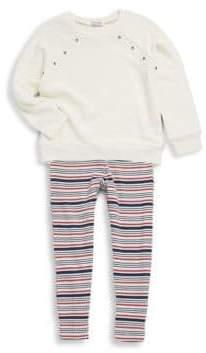 Splendid Little Girl's Two-Piece Grommet Sweatshirt & Striped Leggings