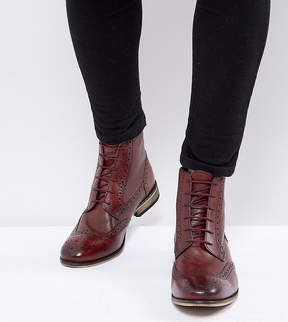 Asos Wide Fit Lace Up Brogue Boots In Burgundy Leather With Natural Sole