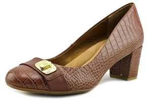 Giani Bernini Lorenn Women Round Toe Leather Tan Heels.