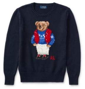 Polo Ralph Lauren Bear Cotton Sweater Hunter Navy S