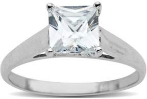 Brilliance+ Believe by Brilliance Princess Cut 7mm CZ Ring in 10kt White Gold, Size 7