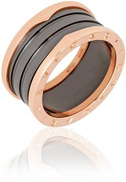 Bvlgari B.Zero1 4 Band 18K Pink Gold Black Ceramic Ring - Size 10.75