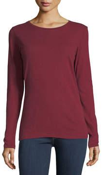 Neiman Marcus Majestic Paris for Cotton/Cashmere Crewneck Long-Sleeve T-Shirt
