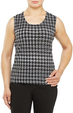 Allison Daley Scoop Neck Sleeveless Houndstooth Print Tank