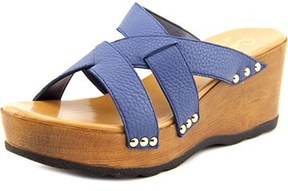 Callisto Syrah Women Open Toe Leather Wedge Sandal.
