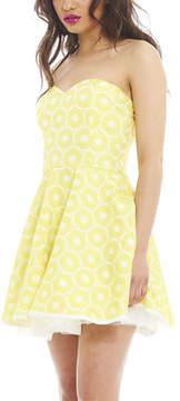 AX Paris Yellow Ring Textured Kick Out Strapless Dress - Women