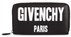 Givenchy Women's Logo Print Zip Around Leather Wallet - Black