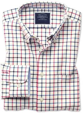 Charles Tyrwhitt Classic Fit Button-Down Washed Oxford Navy and Pink Check Cotton Casual Shirt Single Cuff Size Large