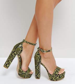 Missguided Platform Heeled Snake Print Sandal