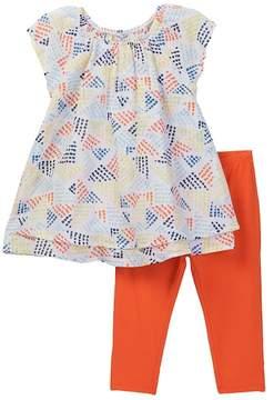 Splendid Geo Dot Print Top & Leggings Set (Little Girls)