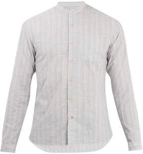 Oliver Spencer Grandad collar long-sleeve striped cotton shirt