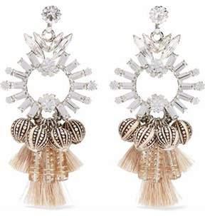 Elizabeth Cole Silver-Tone Swarovski Crystal Bead And Tassel Earrings