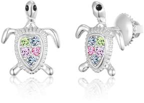 Swarovski Chanteur Jewelry White Gold Plated Sterling Silver Crystal Accent Turtle Stud Earrings