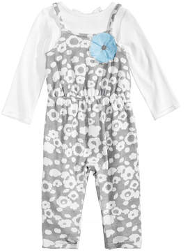 First Impressions 2-Pc. Bow T-Shirt & Floral-Print Overall Set, Baby Girls (0-24 months), Created for Macy's
