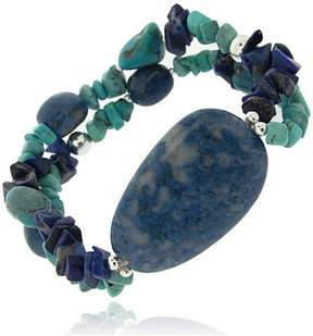 Lapis Generic Denim Lapis, Created Turquoise Chips and Nuggets Sterling Silver Stretch Bracelet, 7.5