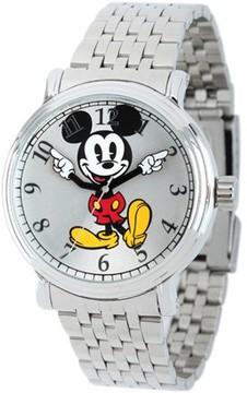Disney Mickey Mouse Men's Shinny Silver Vintage Articulating Alloy Case Watch, Silver Bracelet