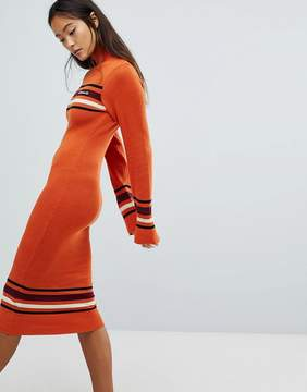 Ellesse Knitted Midi Dress With Roll Neck
