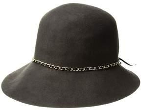 Scala Wool Felt Cloche w/ Chain Caps