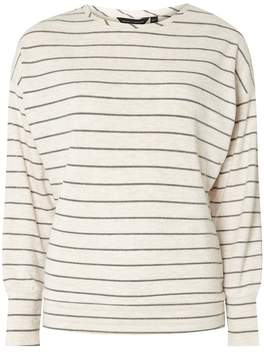 Dorothy Perkins Grey and Ivory Striped Brushed Batwing Top
