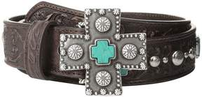 Ariat Turquoise Cross Studded Belt Women's Belts