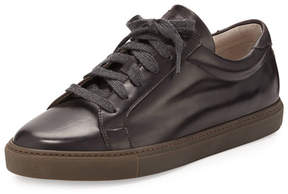 Brunello Cucinelli Men's Leather Lace-Up Sneakers, Brown