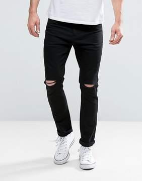 Brave Soul Skinny Black Jeans with Knee Rips