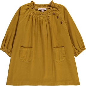 Caramel Portland Ruffled Collar Dress
