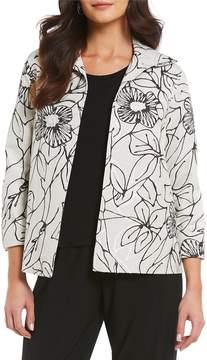 Caroline Rose A-Line Floral Print Jacket