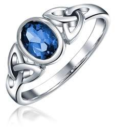 Celtic Bling Jewelry Simulated Sapphire Glass Knot Triquetra Sterling Silver Ring.