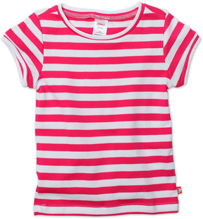 Zutano Fuchsia & White Primary Stripe Fitted Tee - Toddler