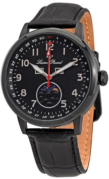 Lucien Piccard Black Dial Men's Leather Watch