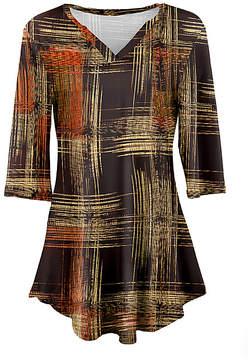 Azalea Brown & Yellow Abstract V-Neck Tunic - Women & Plus