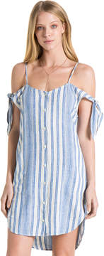 Bella Dahl Shoulder Tie Button Dress-White-XS