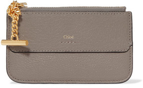 Chloé - Drew Textured-leather Cardholder - Gray