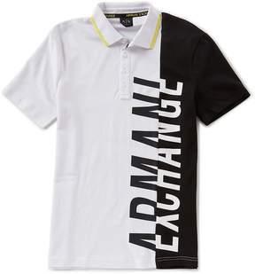 Armani Exchange Color Block Logo Short-Sleeve Polo Shirt