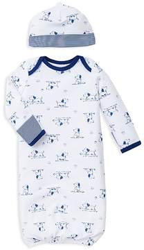 Little Me Boys' Puppy Print Gown & Hat Set - Baby