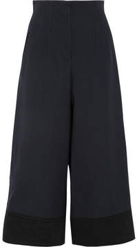 3.1 Phillip Lim Satin-trimmed Crepe Wide-leg Pants - Midnight blue