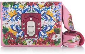 Dolce & Gabbana Twill-Trimmed Printed Leather Shoulder Bag