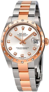 Rolex Datejust 31 Automatic Silver Diamond Dial Ladies Steel and 18K Everose Gold Oyster Watch