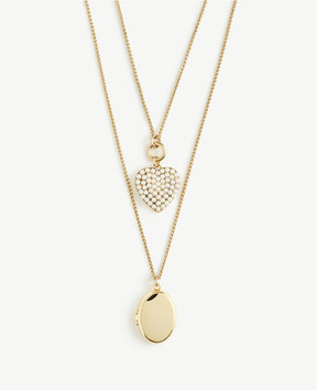 Ann Taylor Pearlized Heart and Locket Layering Necklace