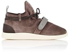 Giuseppe Zanotti Men's Plated-Strap Suede Sneakers