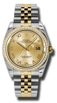 Rolex Datejust Steel and Yellow Gold Champagne Roman Dial 36mm Watch